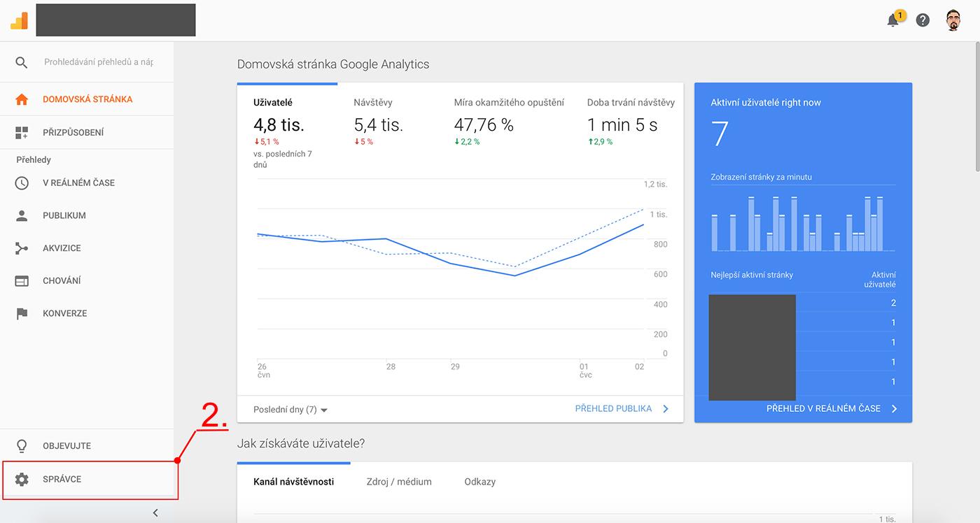 Nastavení Google Analytics 1