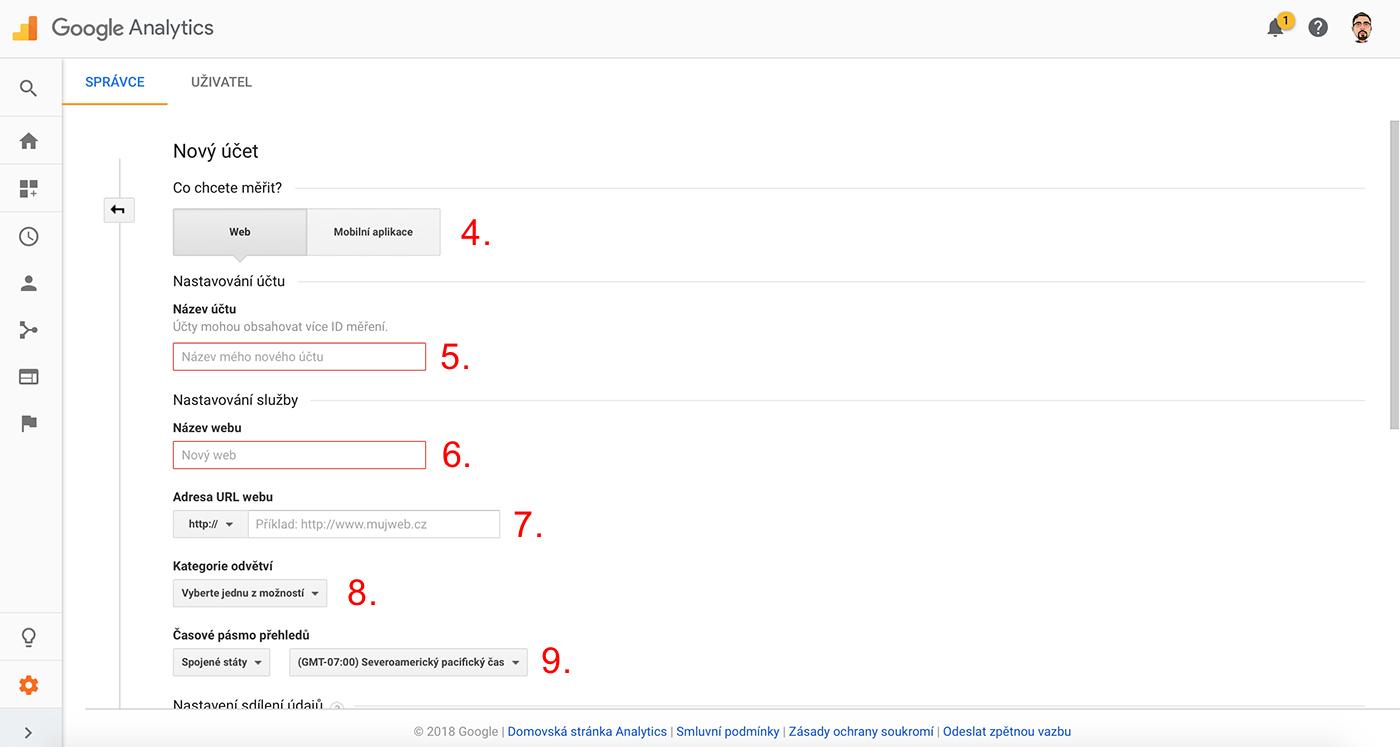 Nastavení Google Analytics 3