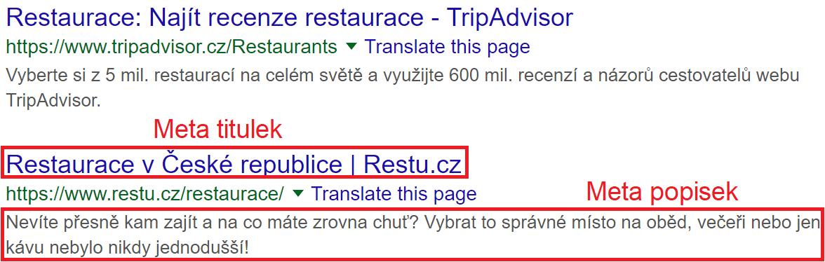 meta titulek a popisek ve výsledcích vyhledávaní