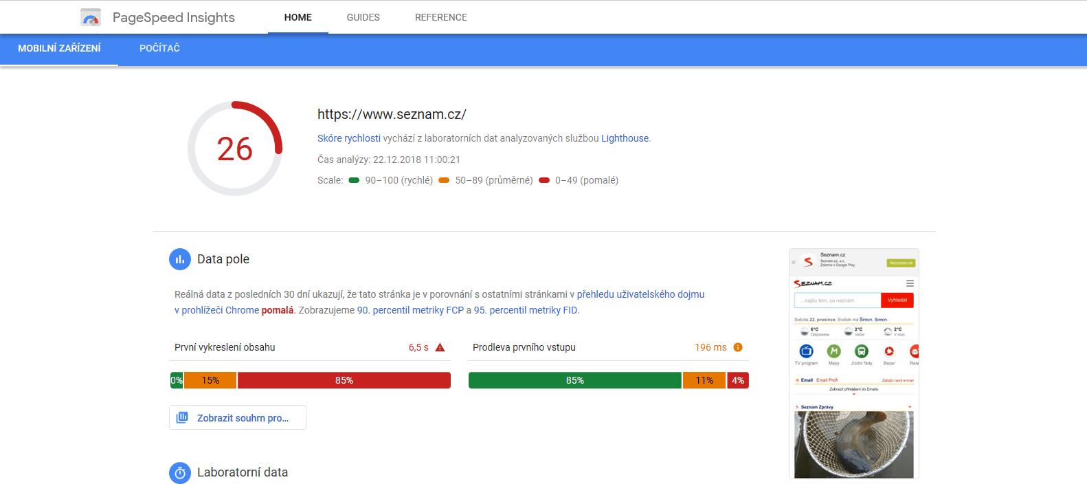 Analýza přizpůsobení stránky Seznam.cz pro mobilní telefony nástrojem PageSpeed Insights