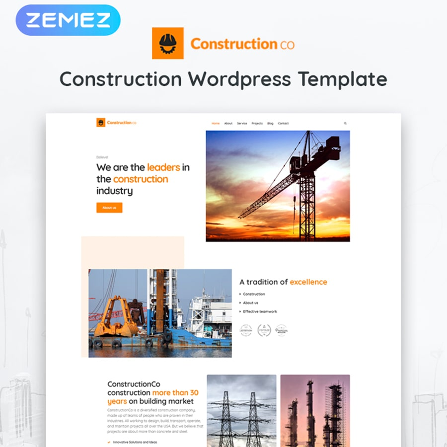 WordPress šablona Construction Business
