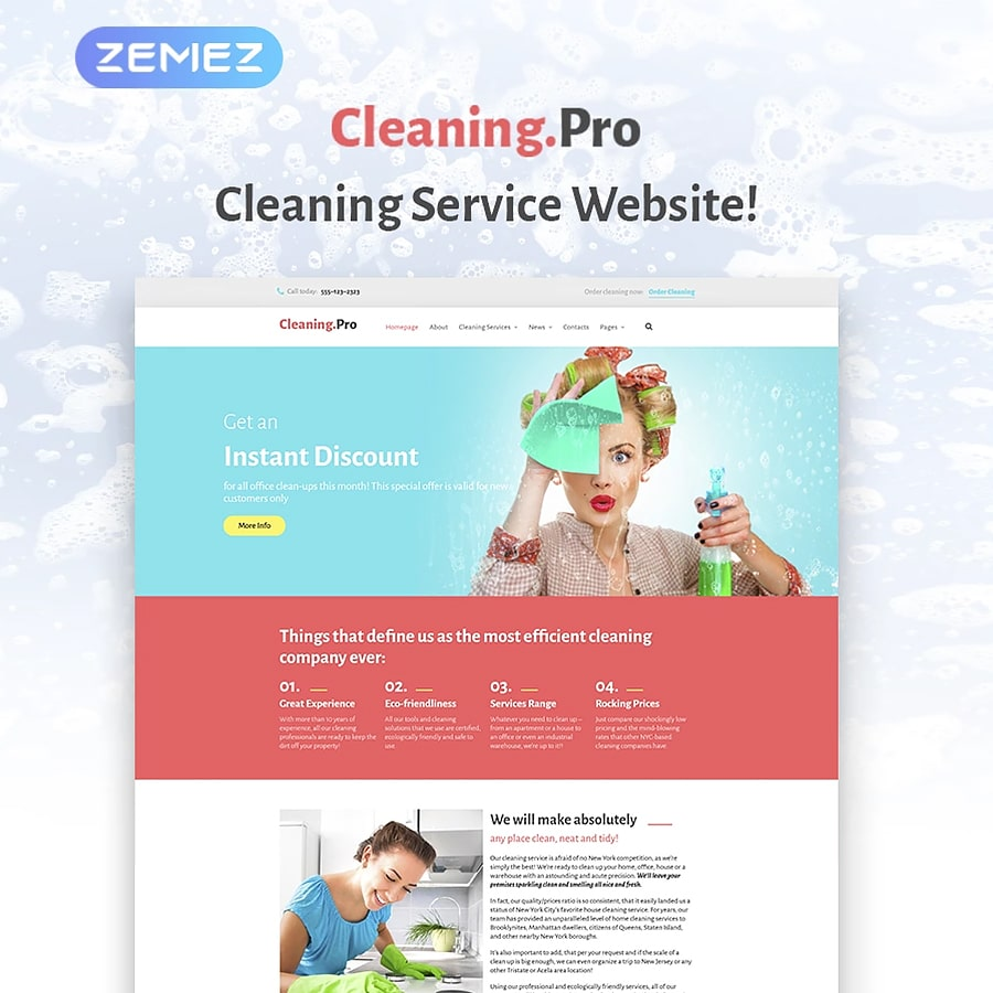 WordPress šablona Cleaning & Maid Service Company