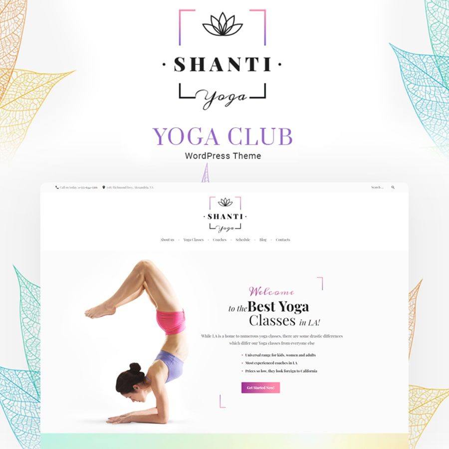 WordPress šablona Shanti - Yoga studio