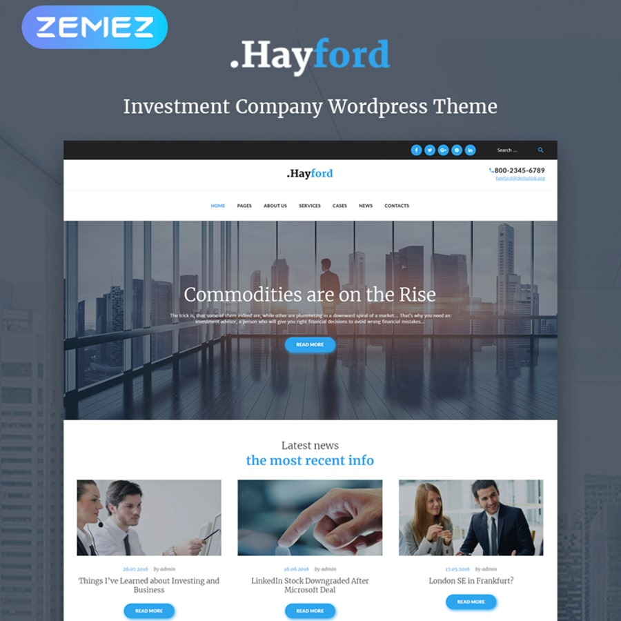 WordPress šablona Hayford - Investment Consulting Services Responsive