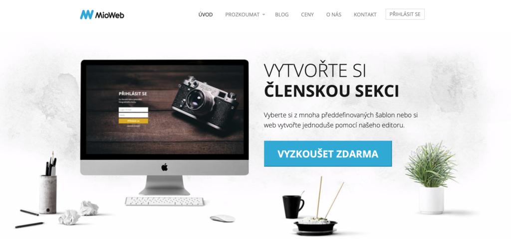 MioWeb.cz WYSIWYG editor webových stránek
