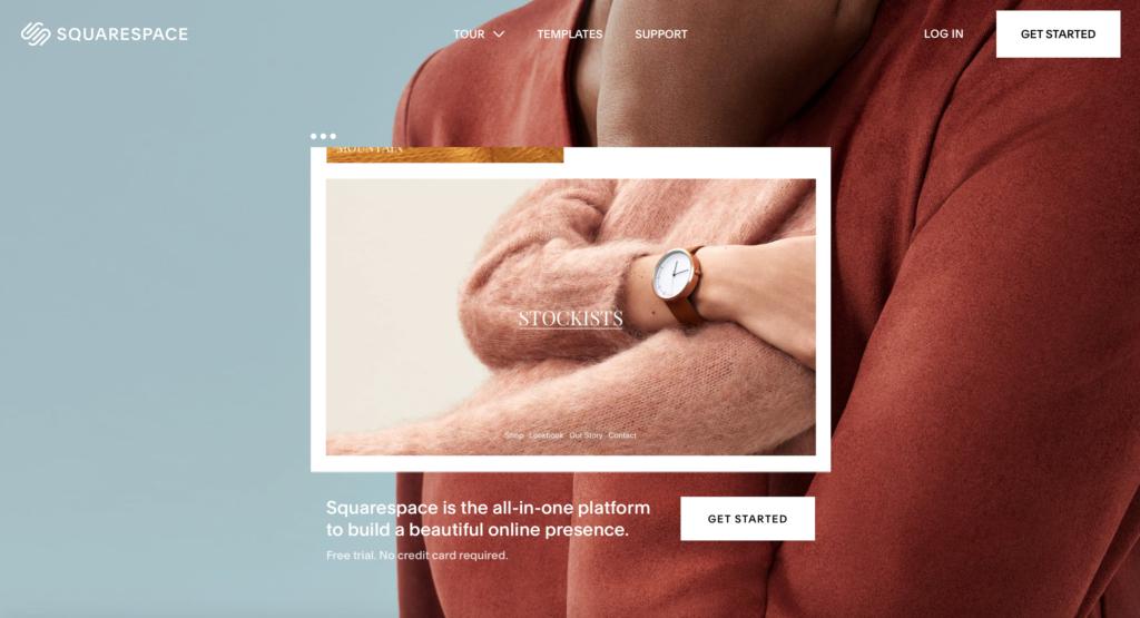 Squarespace.com WYSIWYG editor webových stránek