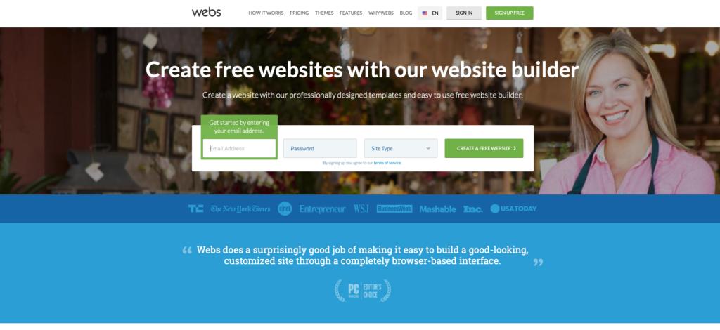 Webs.com WYSIWYG editor webových stránek