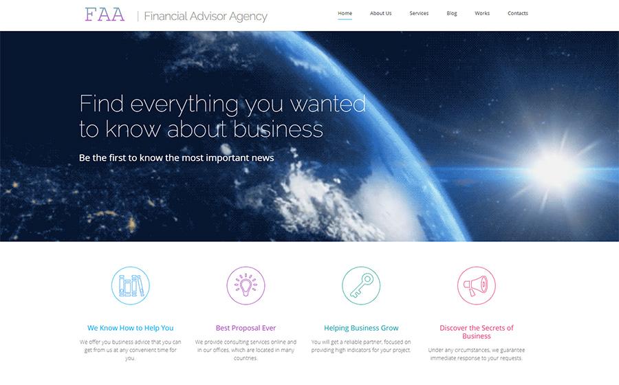 WordPress šablona pro finanční poradce