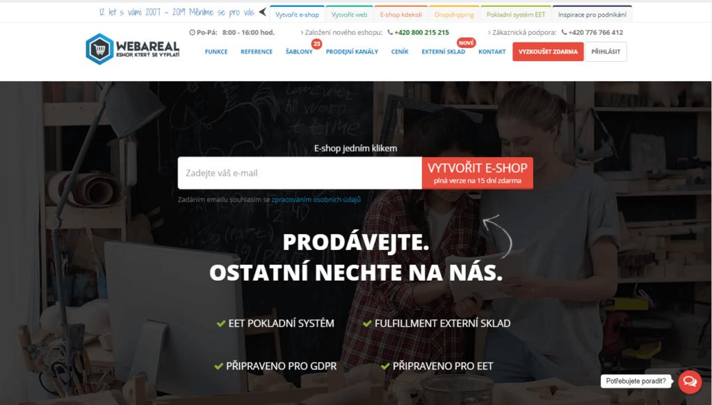 E-shopová platforma webareal.cz