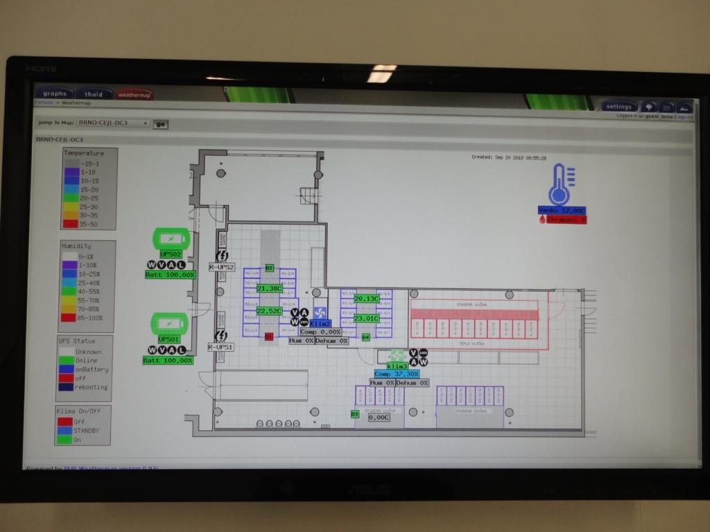 Uživatelské rozhraní řídicího systému serverovny datacentra MasterDC v Brně