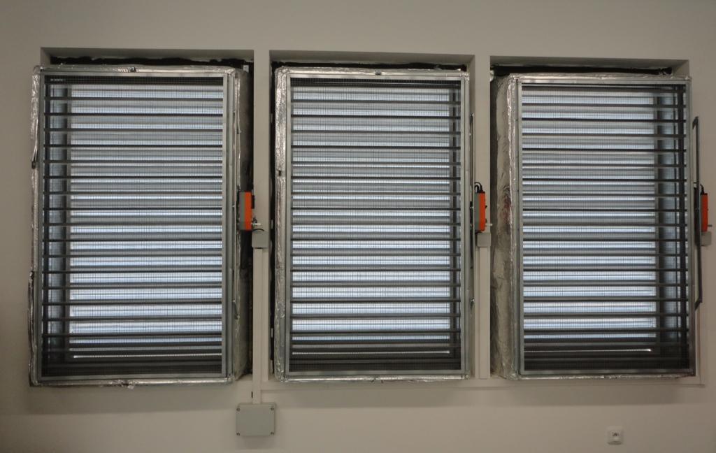 Větrací mřížky free coolingu datacentra MasterDC v Brně