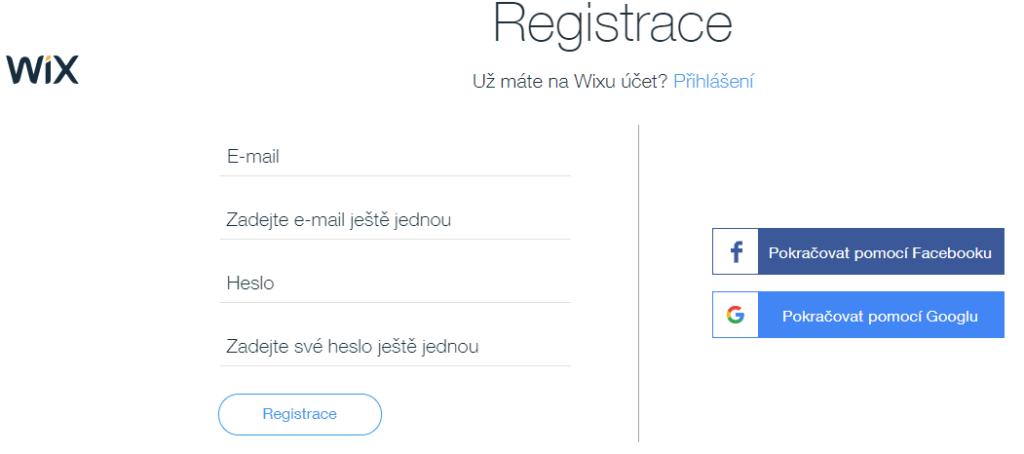 Wix recenze registrace