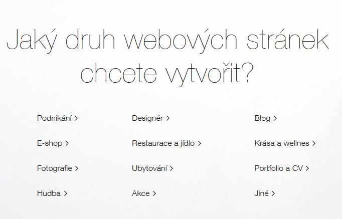 Wix recenze výběr typu stránek