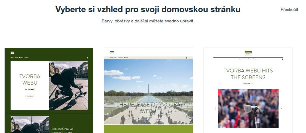 Wix recenze vzhled stránky
