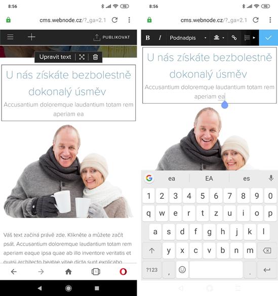 Webnode recenze editování stránek z mobilu