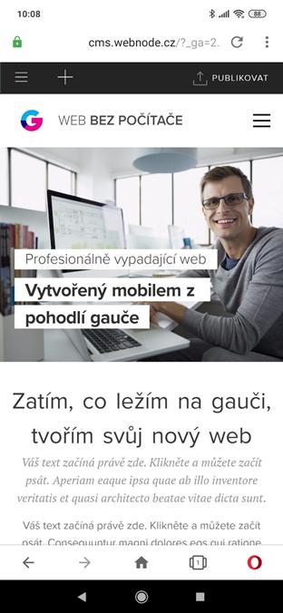 Webnode recenze stránky vytvořené mobilním telefonem (mobilní editor)