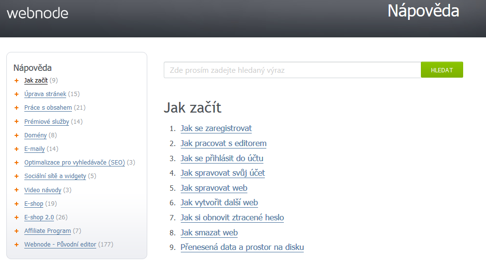 Webnode recenze nápověda Webnode