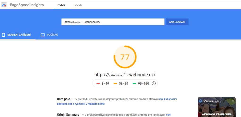 Webnode recenze test rychlosti stránek pomocí Google PageSpeed Insights