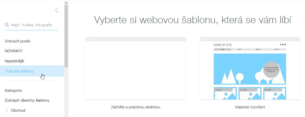 Wix recenze tvorba webu výběr šablony