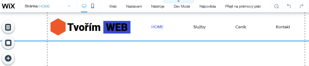 Wix recenze tvorba webu editace loga