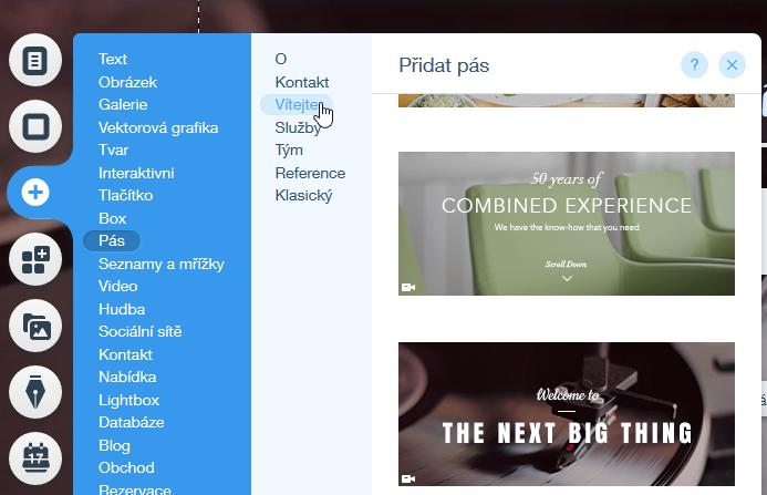 Wix recenze tvorba webu pŕidání bloků