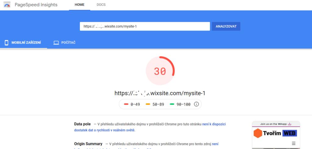Wix recenze test rychlosti webových stránek