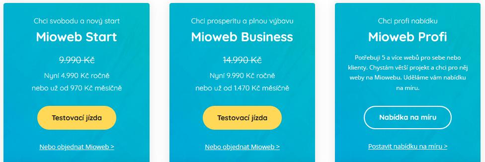 MioWeb recenze cenové tarify (balíčky)