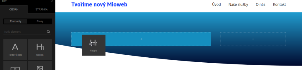 MioWeb recenze editace nadpisu stránky