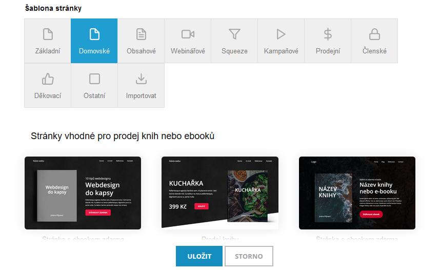 MioWeb recenze výběr šablony nové stránky