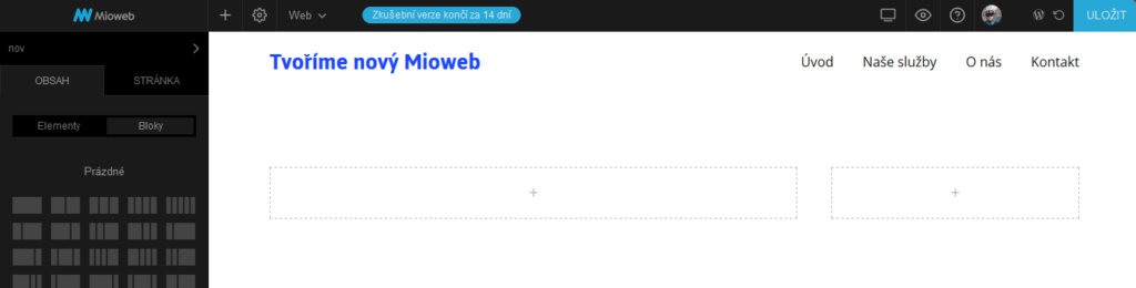 MioWeb recenze webová stránka s dvěma sloupci