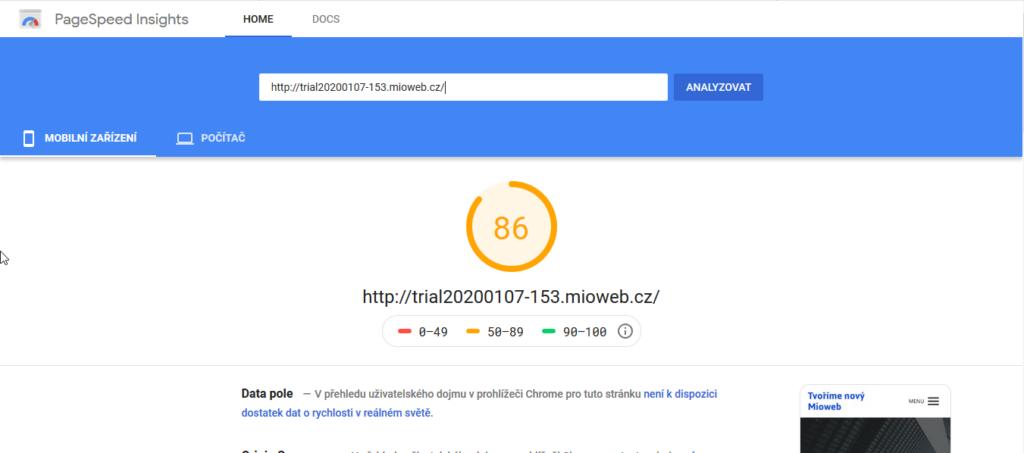 MioWeb recenze test rychlosti webových stránek