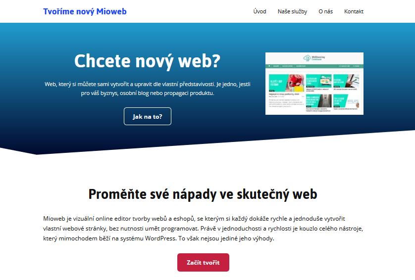 MioWeb recenze výsledná stránka vytvořená v editoru MioWeb