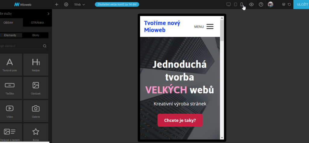 MioWeb recenze webový editor s náhledem webu na mobilním zařízení