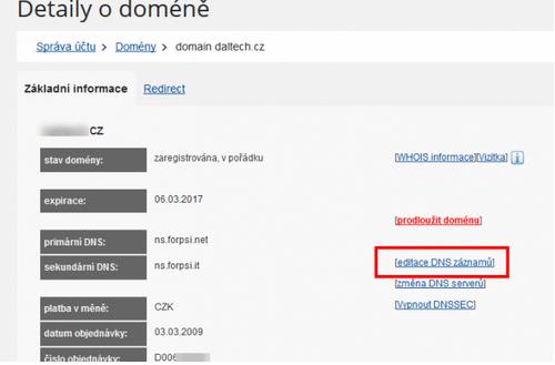 Recenze AffilBox přidání CNAME do DNS