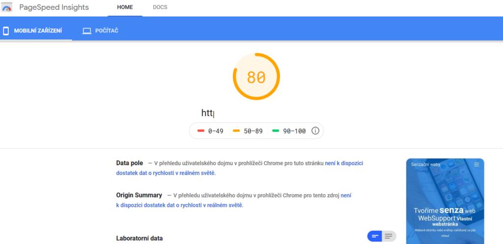 Recenze WebSupport Vlastní Webstránka - test rychlosti stránek