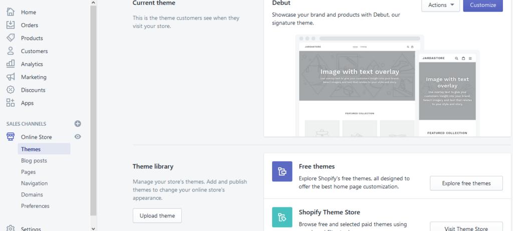 Recenze Shopify nastavení vzhledu výběr šablony