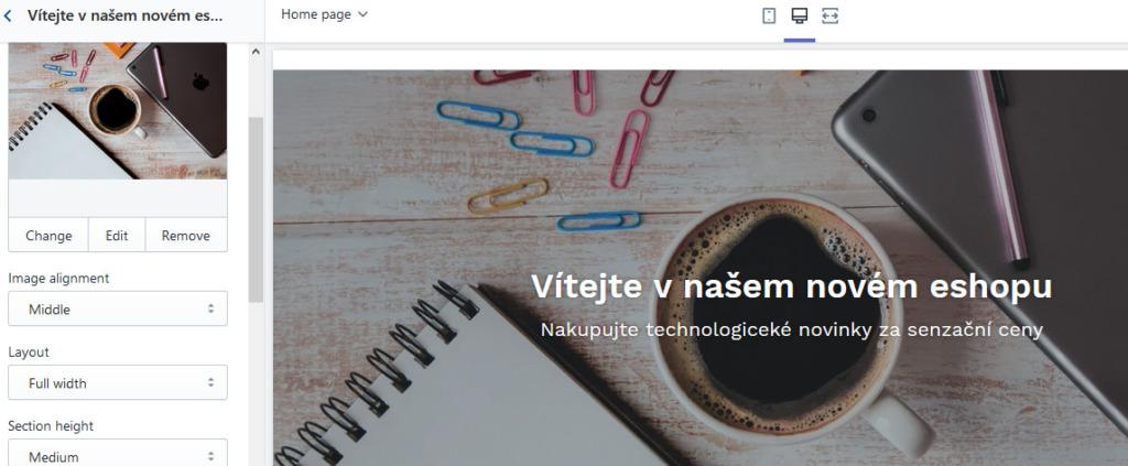 Recenze Shopify nastavení vzhledu editace bloku