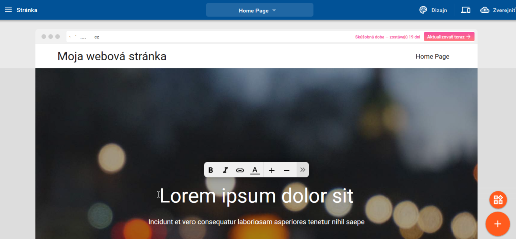 Recenze WebSupport Vlastní Webstránka - vlastnosti editoru