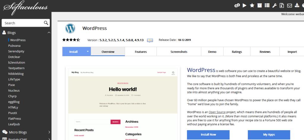 Recenze Bluehost instalace WordPress na kliknutí pomocí Softaculous