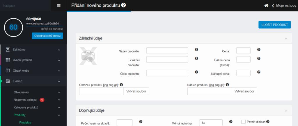 Webareal recenze přidání produktu