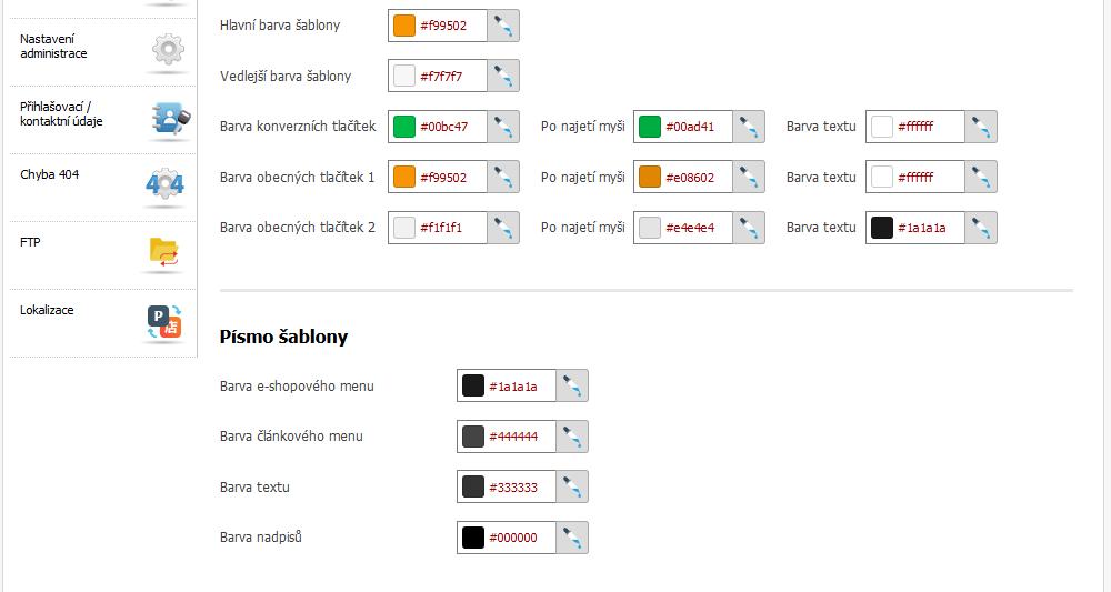 Recenze Eshop-rychle návod změna barev šablony