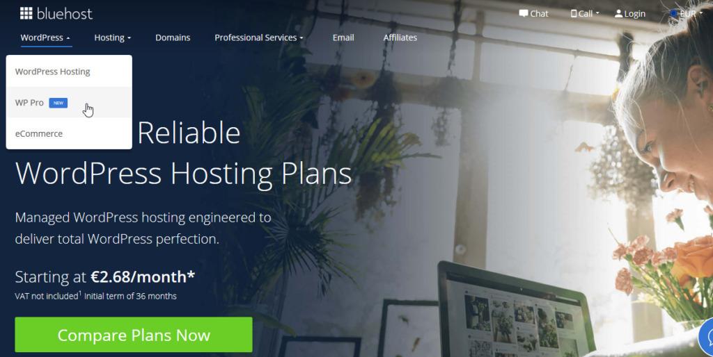 Recenze Bluehost cena WordPress hostingů