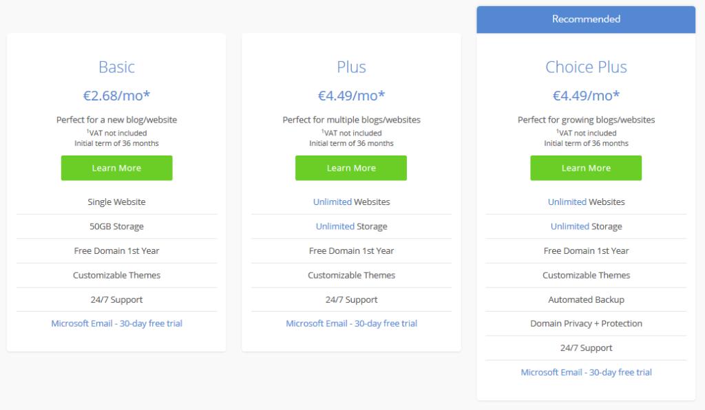 Recenze Bluehost cenové balíčky WordPress hostingů