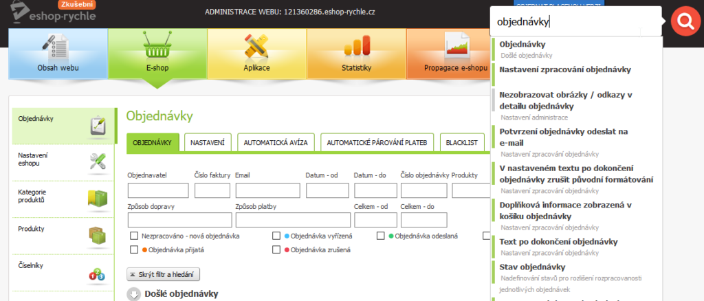 Recenze Eshop-rychle administrace vyhledávání
