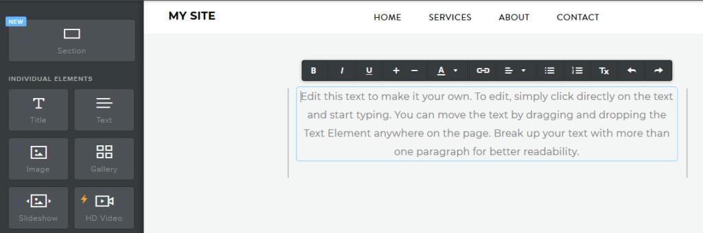 Recenze Weebly návod jak vytvořit stránky úprava textu