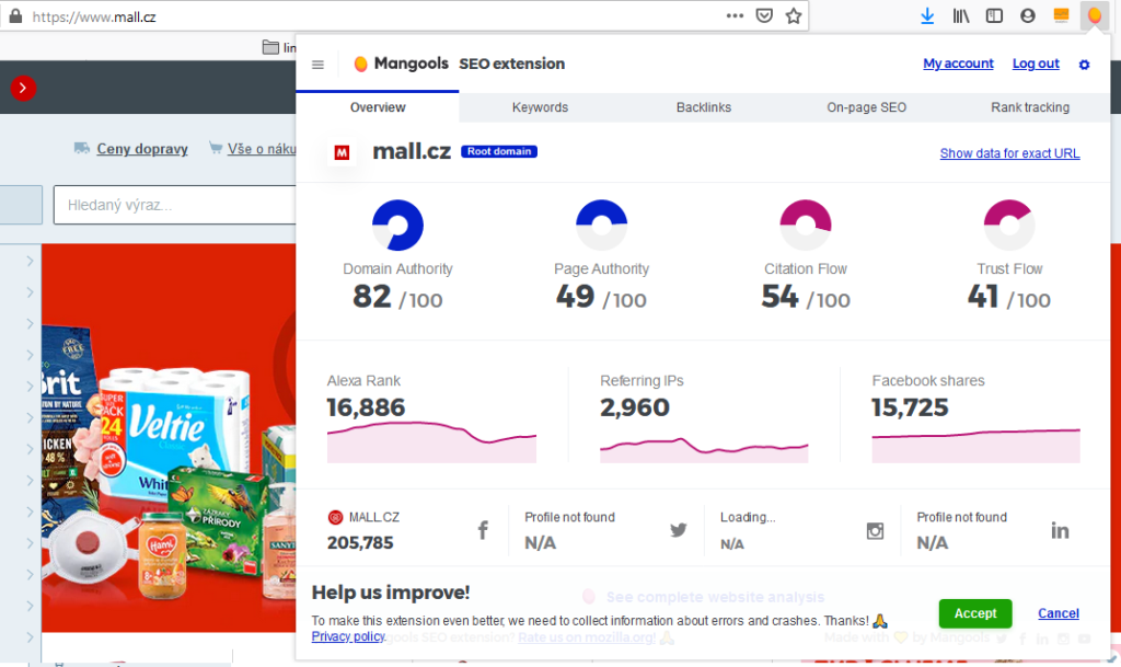 Recenze Mangools rozšíření pro Chrome a Firefox prohlížeč