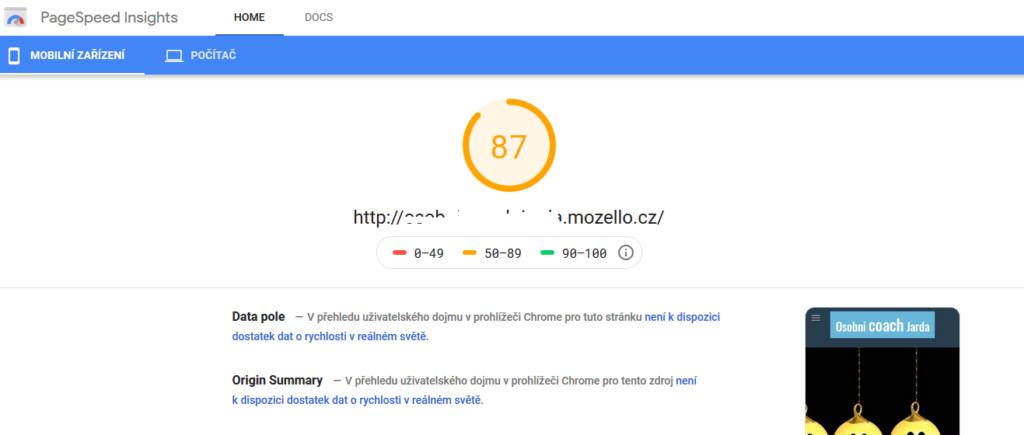 Mozello recenze test rychlosti webové stránky