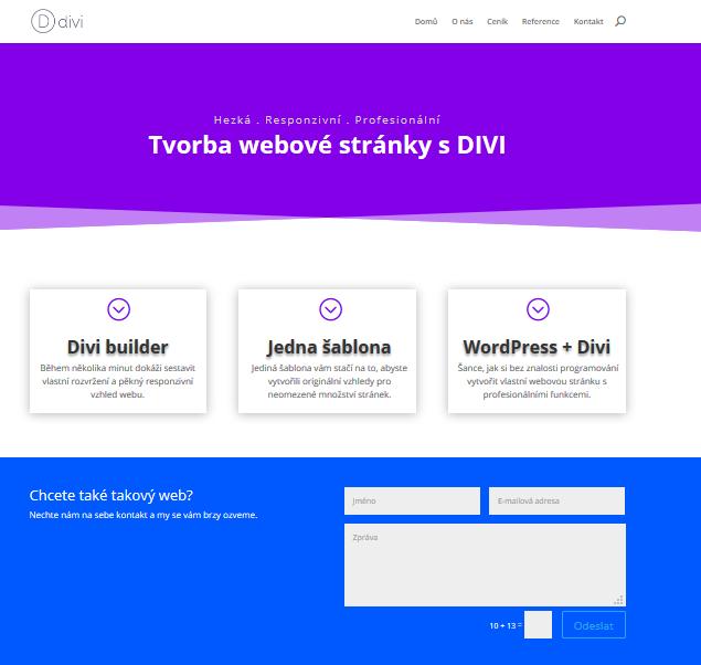 Recenze DIVI návod tvorba stránky finální web