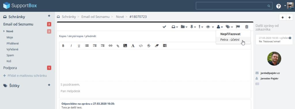 Recenze SupportBox delegování emailů