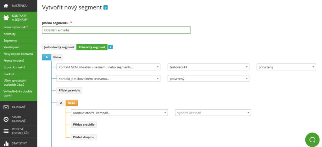 SmartEmailing recenze segmentace